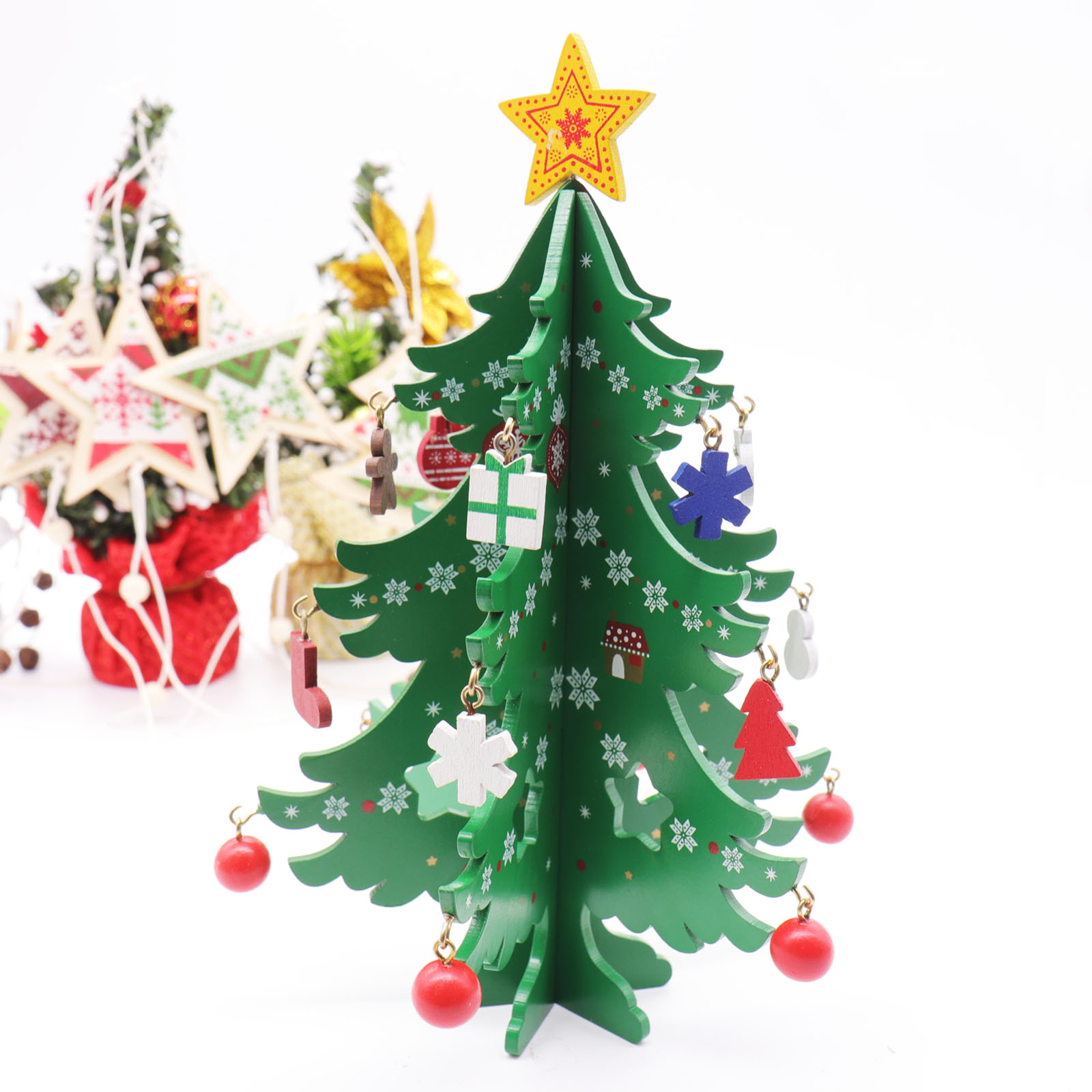 Us 6 77 30 Off 3d Diy Wood Christmas Tree With Ornament Pendant Table Desk Decoration For Children Gift Christmas New Year Party Supply In Trees