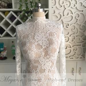 Image 5 - Mryarce Lace Wedding Dress With Long Sleeves Modest High Neck Open Bavk Mermaid Winter Bridal Gown vestido de noiva