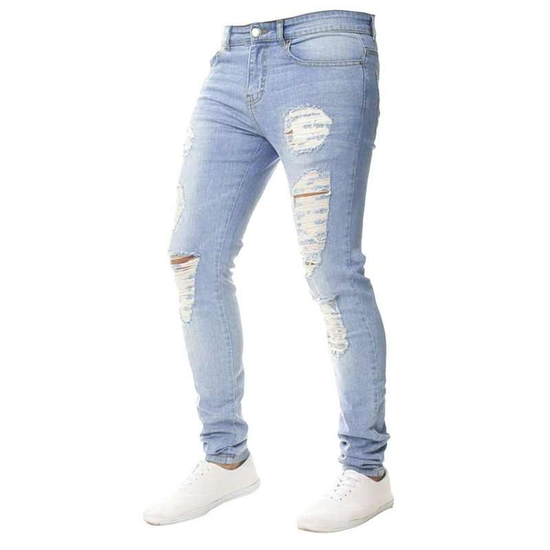 MoneRffi 2019 New Fashion Men Holes Jeans High Street Motorcycle Biker Jeans Men Hip Hop Ripped Slim Fit  Full Length Jeans