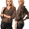 Venda quente, mulheres casuais blusa da cópia do leopardo das mulheres da moda tops chiffon camisa de manga longa plus size blusas blusas S-4XL