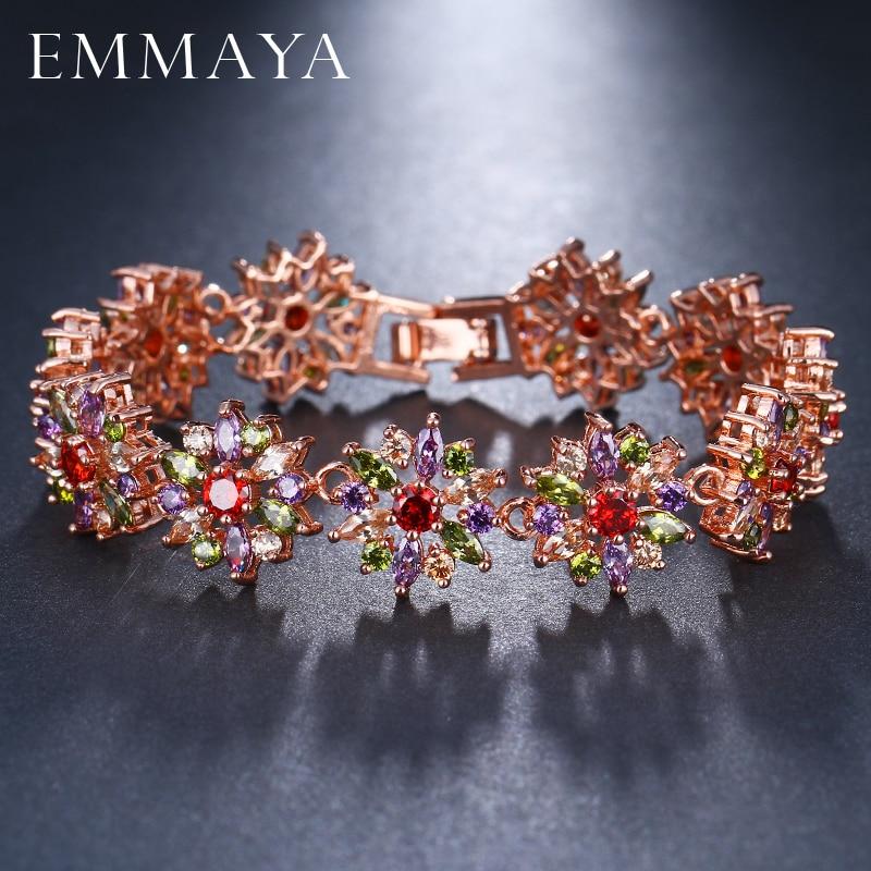 EMMAYA Gorgeous Rose Gold Color Multi CZ Bangles Bracelets Fashion Flower Shape Bracelets for Women chic flower shape embellished bright color felt cloche hat for women