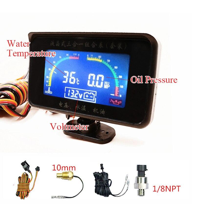 Novo Universal LCD Função 3 12 v/24 v Caminhão Voltímetro + Temperatura Da Água Medidor de Medidor De Pressão De Óleo Do Carro medidor Com Sensores