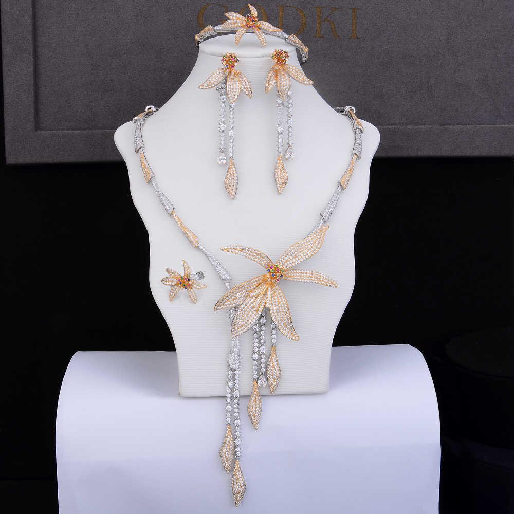 GODKI יוקרה פרח ציצית זרוק 4 pc ניגרית נשים חתונה זירקון קריסטל CZ הודי תכשיטי כלה סטים