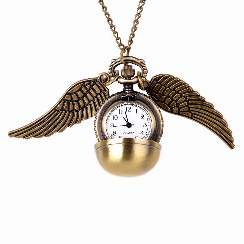 Retro Elegant Golden Snitch Quartz Fob Pocket Watch With Sweater Necklace Chain Wings Pendant Necklace Clock Birthday Gift retro steampunk bronze pocket watch eagle wings hollow quartz fob watch necklace pendant chain antique clock men women gift
