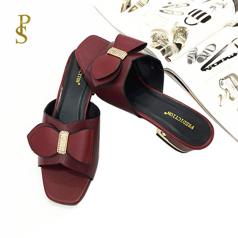 Image 2 - Mother slippers Shoes with bows for women African style shoesSlippers   -