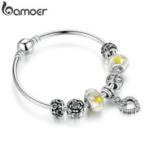 BAMOER Fashion Silver Color Red Yellow Glass Beads Heart Pendant Charms Bangles Women & Girl Ethnic Jewelry PA3812(China)