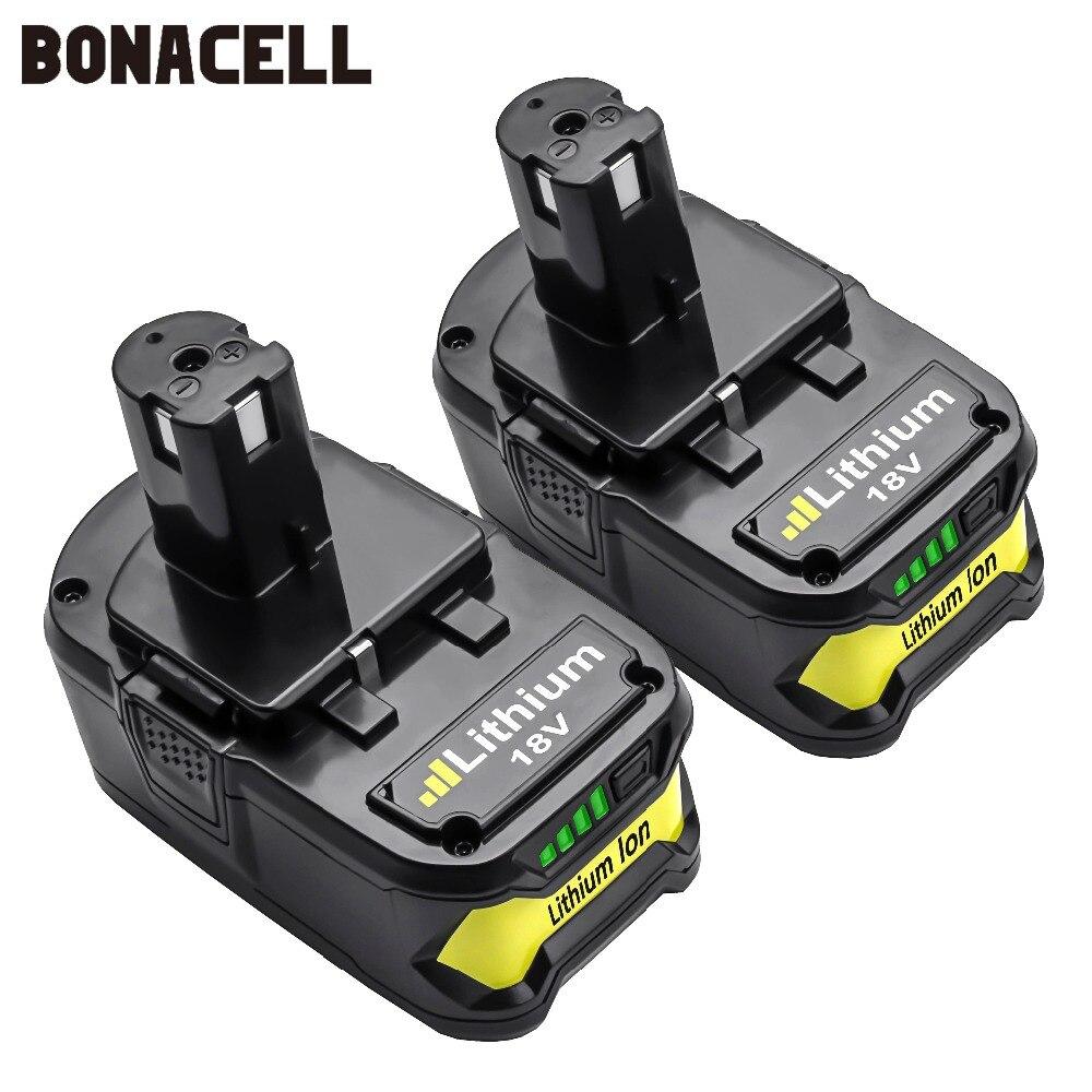Bonacell 18 V 4000 мА/ч, литий ионный аккумулятор P108 P 108 Перезаряжаемые аккумулятор для Ryobi Батарея RB18L40 P2000 P310 для BIW180 L30-in Подзаряжаемые батареи from Бытовая электроника