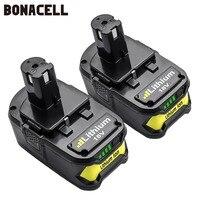Bonacell 18V 4000mAh Li Ion P108 P 108 Oplaadbare Batterij Voor Ryobi Batterij RB18L40 P2000 P310 voor BIW180 L30-in Vervangende batterijen van Consumentenelektronica op