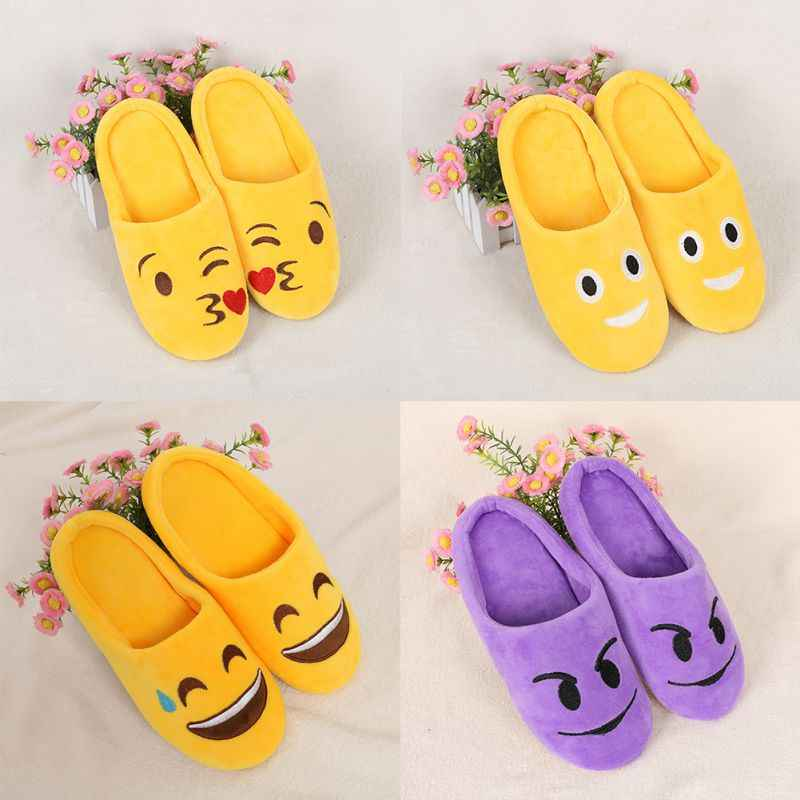 New Indoor Warm Emoji Slippers Winter Cotton Plush Slipper 2018 Emoji Shoes Smiley Emoticon Winter Soft Cartoon Shoes W3