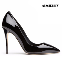 Womens Shoes Pointed Toe High Heels Pumps Patent Leather Ladies Party & Work Stilettos Slip On Aimirlly