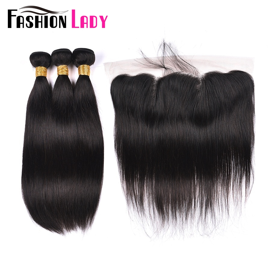 FASHION LADY Pre-Colored Brazilian Straight Hair Bundles With Closure Remy Human Hair Weft 1B With 13x4inch Lace Frontal Closure