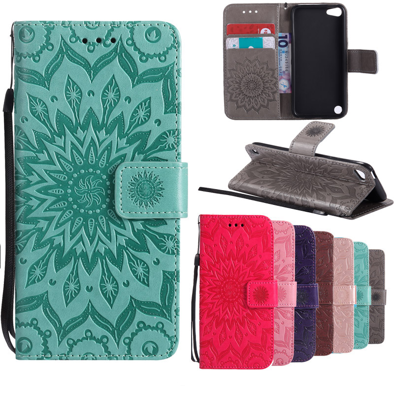 Sunflower Flip Leather Case For Apple iPod iTouch5 Mandala Flower Wallet Cover Stand Phone Case with kickstand For iPod iTouch 6
