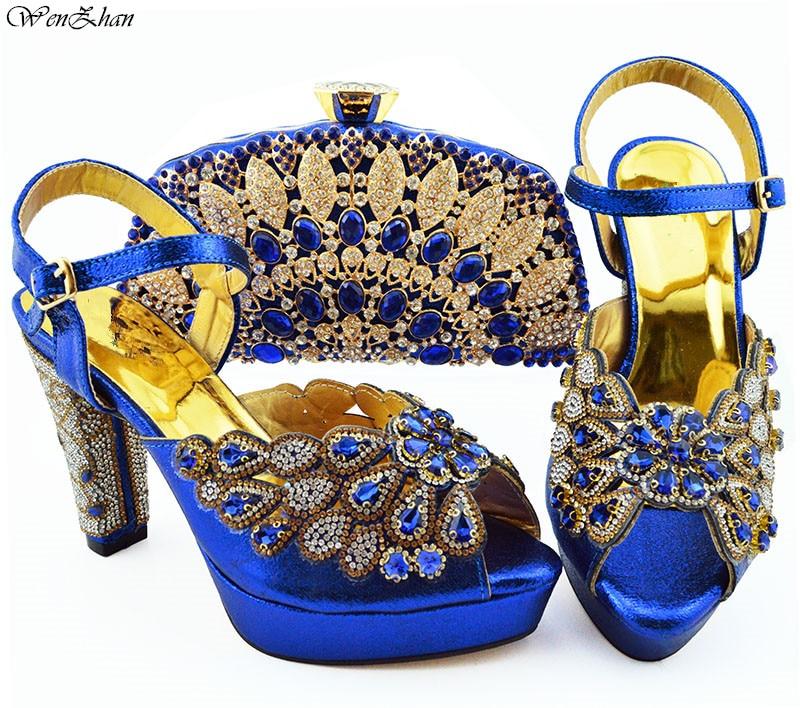 أحدث اللون الأحمر النيجيري أحذية و الحقائب لمطابقة مع الذهب الماس مطابقة الايطالية حذاء وحقيبة مجموعة 11.5 سنتيمتر WENZHAN B94 5-في أحذية نسائية من أحذية على  مجموعة 2