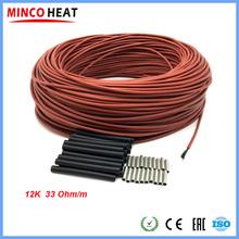 Niski koszt węgla ciepły kabel podłogowy przewód grzejny z włókna węglowego elektryczna gorąca linia nowy kabel ogrzewanie na podczerwień tanie tanio MINCO HEAT RUBBER 12K carbon fiber CF-12-R Stranded Izolowane Carbon fiber heating wire 33 Ohm m Silicone rubber 3 mm 7~300 V