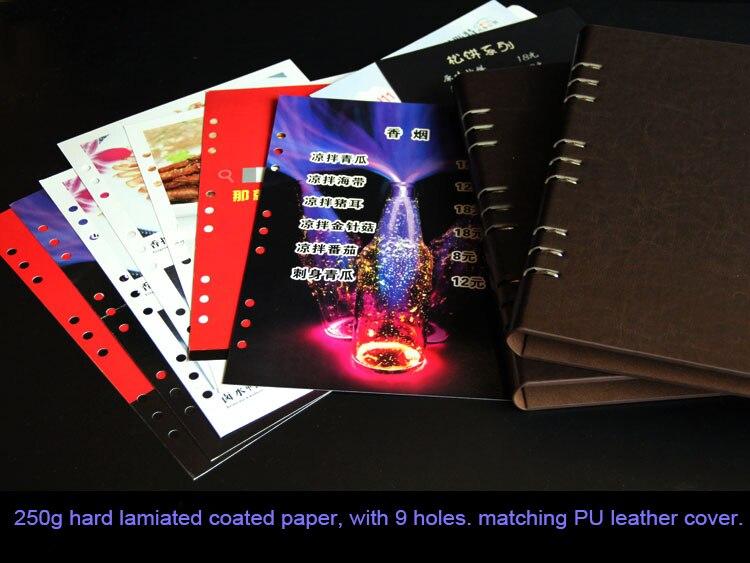 Пользовательский логотип из искусственной кожи меню обложка папка, держать меню А4 непосредственно или 29x18,6 см бумаги