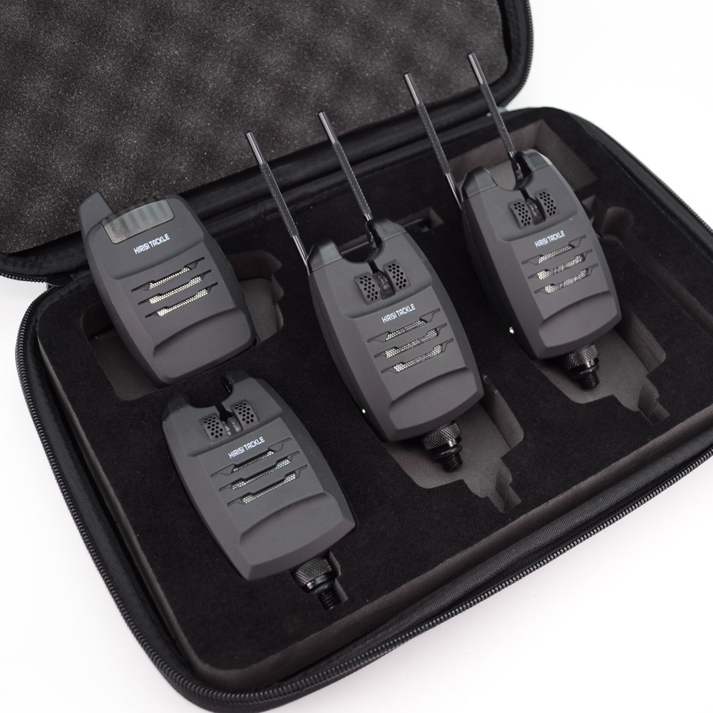 1 + 4 Set d'alarme de pêche à la carpe sons et LED alarme sans fil indicateur d'alarme de morsure de pêche électronique avec barre d'oreille accrochée B1228 - 4