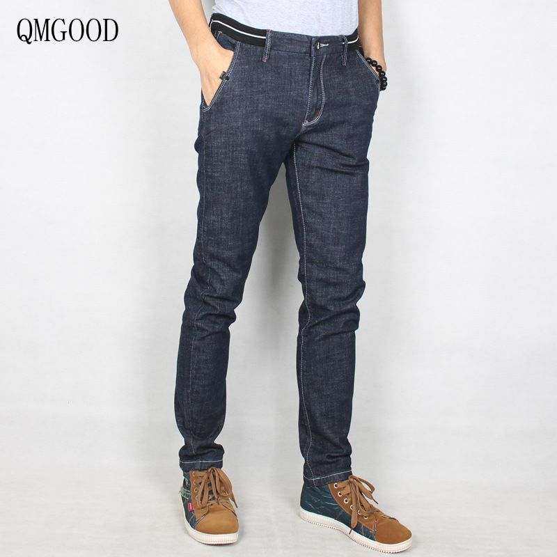 QMGOOD 2017 Men Designer Brand Jeans Trousers High Quality Cotton Casual Men`s Jeans Slim Elasticity Fit Denim Stretch Jeans 30 jeans men s blue slim fit fashion denim pencil pant high quality hole brand youth pop male cotton casual trousers pant gent life