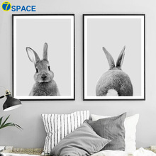 Cute Gray Rabbit Wall Art Canvas Painting Posters And Prints Nordic Poster Animals Wall Pictures For Living Room Art Print Decor cute women s satchel with rabbit print and canvas design