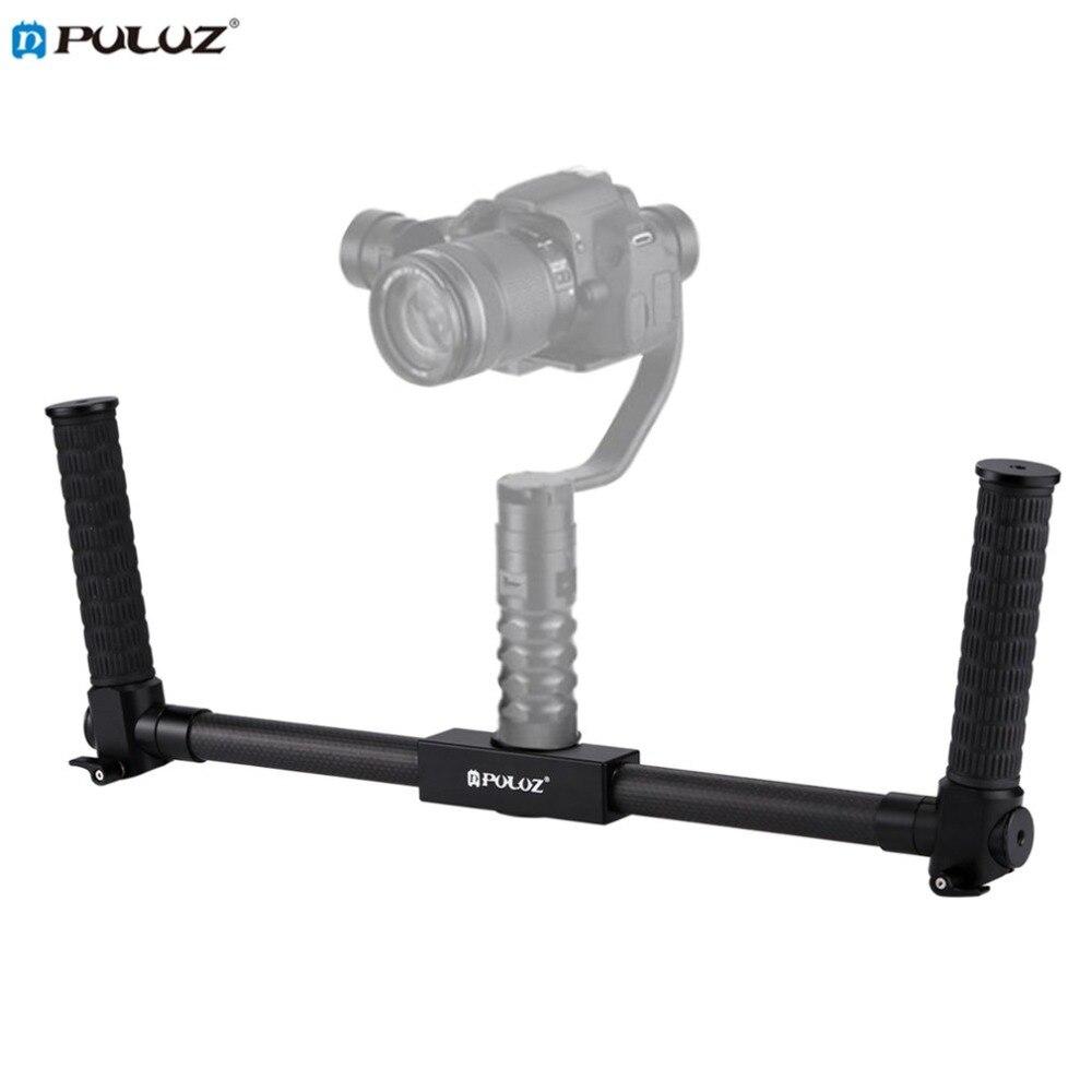 PULUZ Lightweight Carbon Fiber Metal Stabilizer Dual Handheld Grip Bracket Gimbal Stabilizer for DSLR Camera Bracket цена