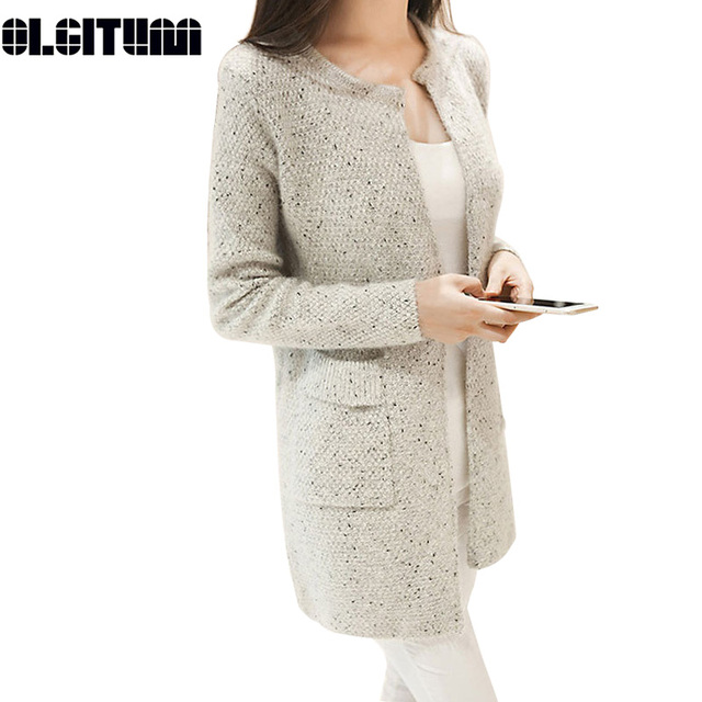 New Spring&Autumn Women Casual Long Sleeve Knitted Cardigans Autumn Crochet Ladies Sweaters Fashion Women Cardigan