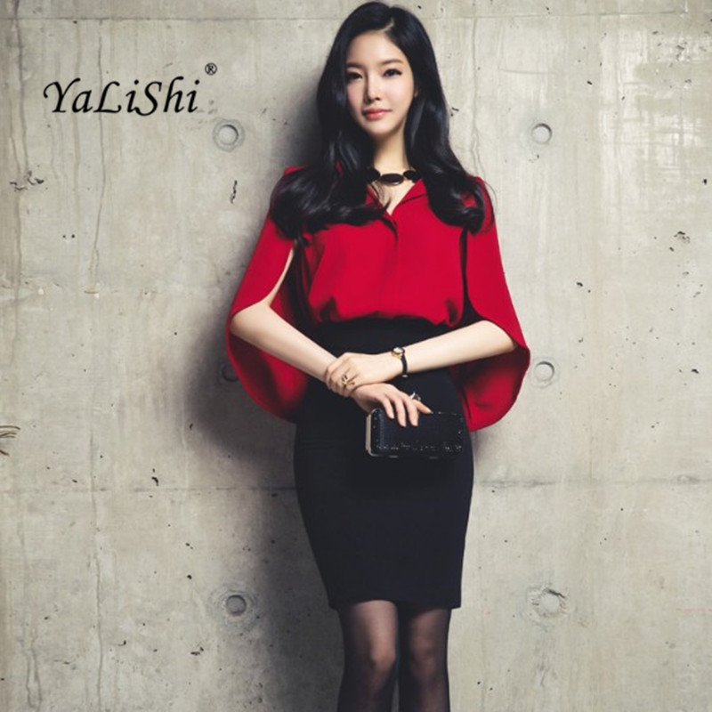 YaLiShi 2 Piece Set Women Suit Summer Office Red Cloak Chiffon Blouse Shirt Tops and Black