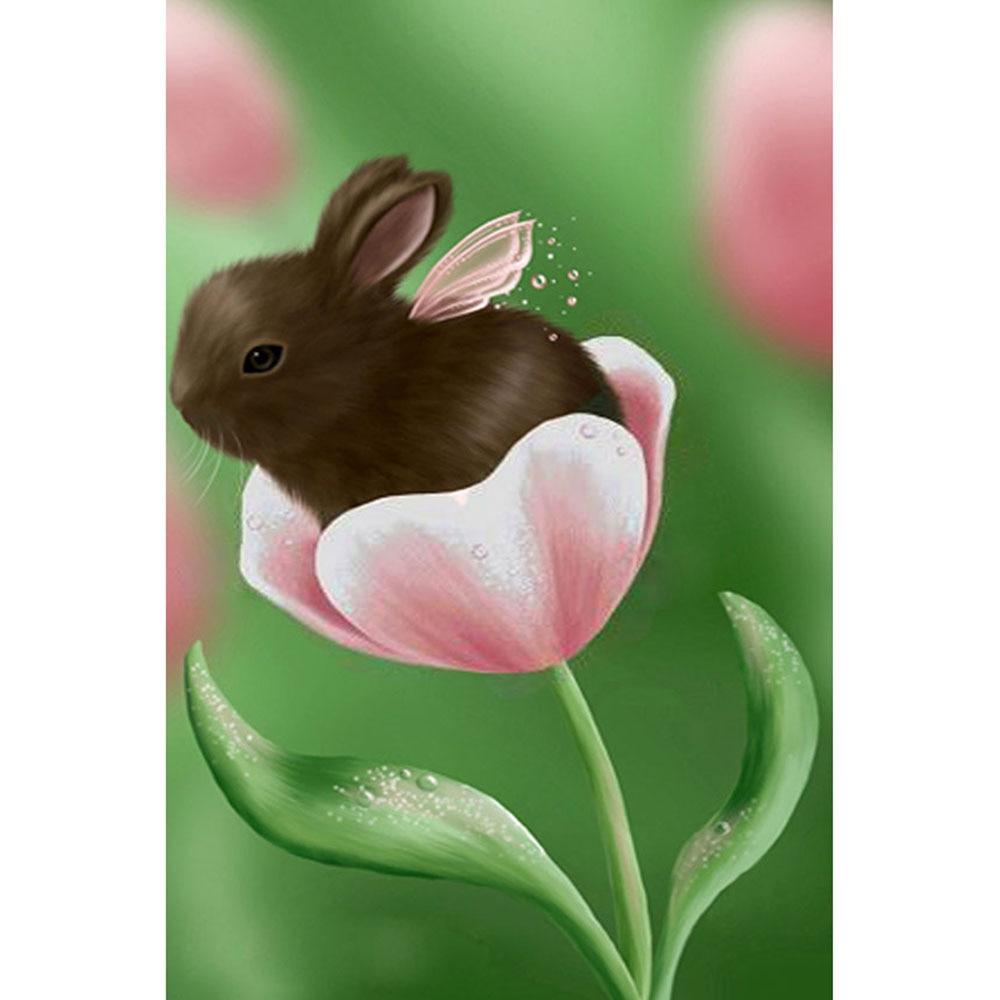 Full DIY Diamond Painting kit Bunny in flowers Cross Stitch Diamond Embroidery Patterns rhinestones  Mosaic home decor