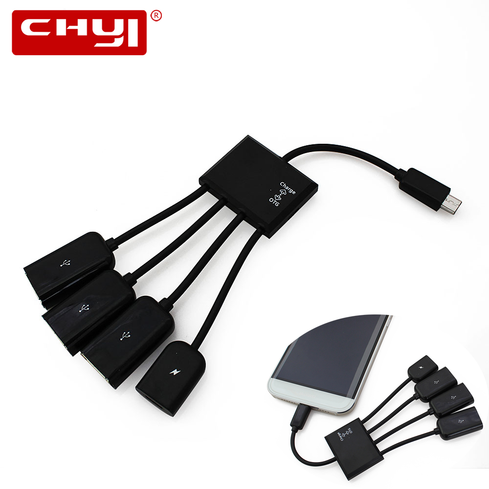 CHYI Micro USB OTG Hub With Power Charging Charger Port Mini 3 Port USB Splitter For Android Smartphone Tablet PC Accessories