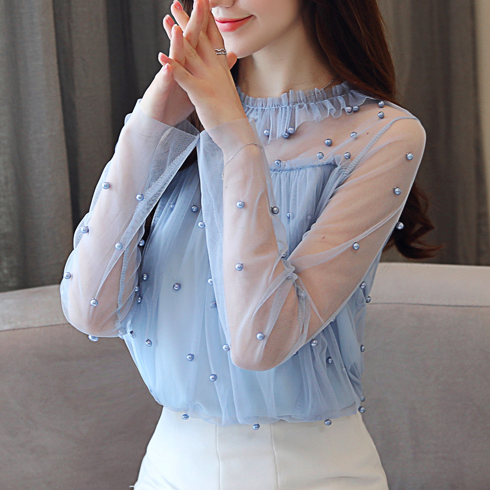 Encaje Tops Nuevo Sexy Otoño Larga rosado La 30 Blusas Gasa Camisas Azul Mujeres Dulce Elegante De Moda 0863 Blusa 2018 Manga Mujer dqw5XZw