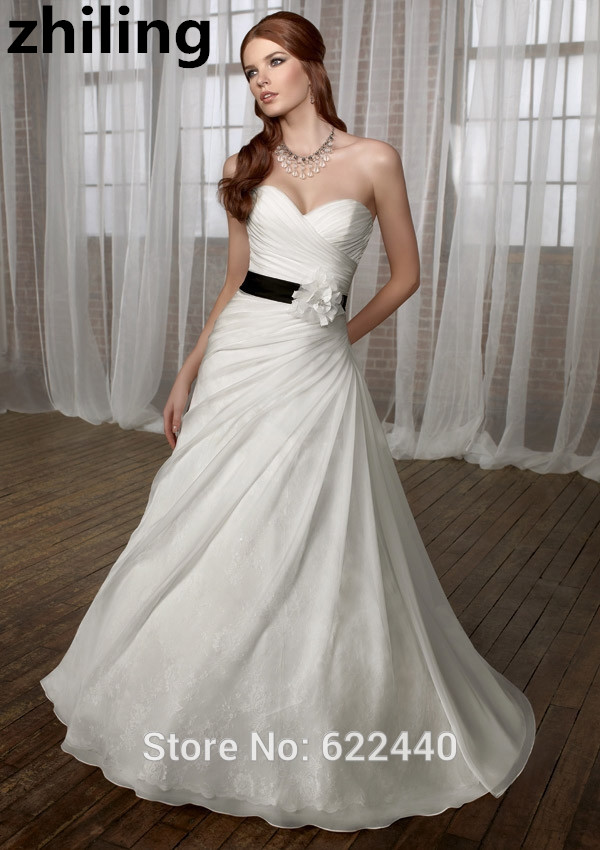 unique designer a line wedding dresses organza with lace bridal gown with black ribbons wedding