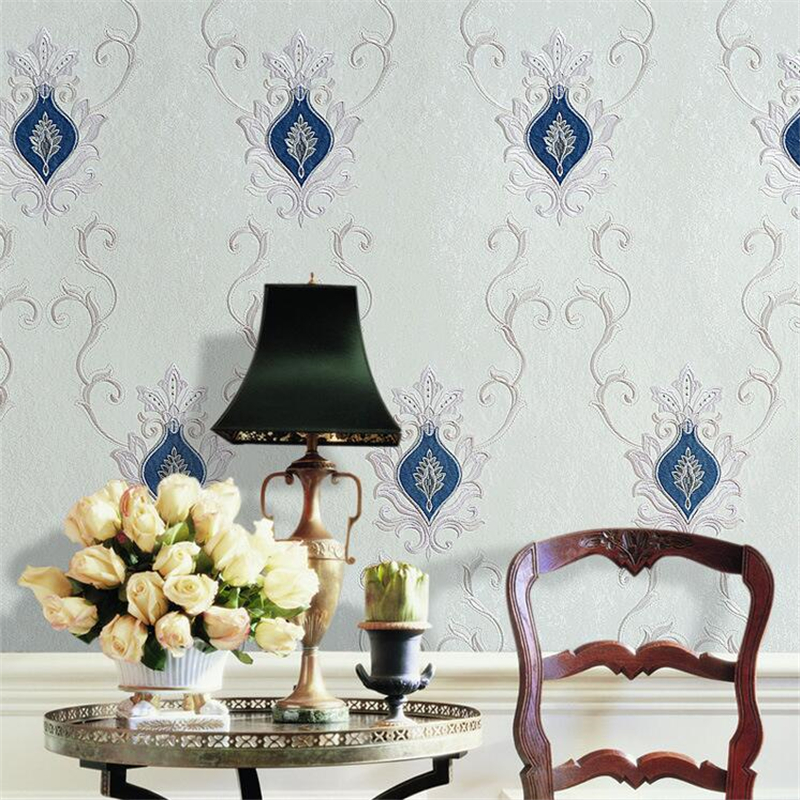 beibehang Custom-made high-end embroidery wall cloth bedroom living room European high-end villa embroidery wall cloth wallpaper beibehang embroidery wallpaper european