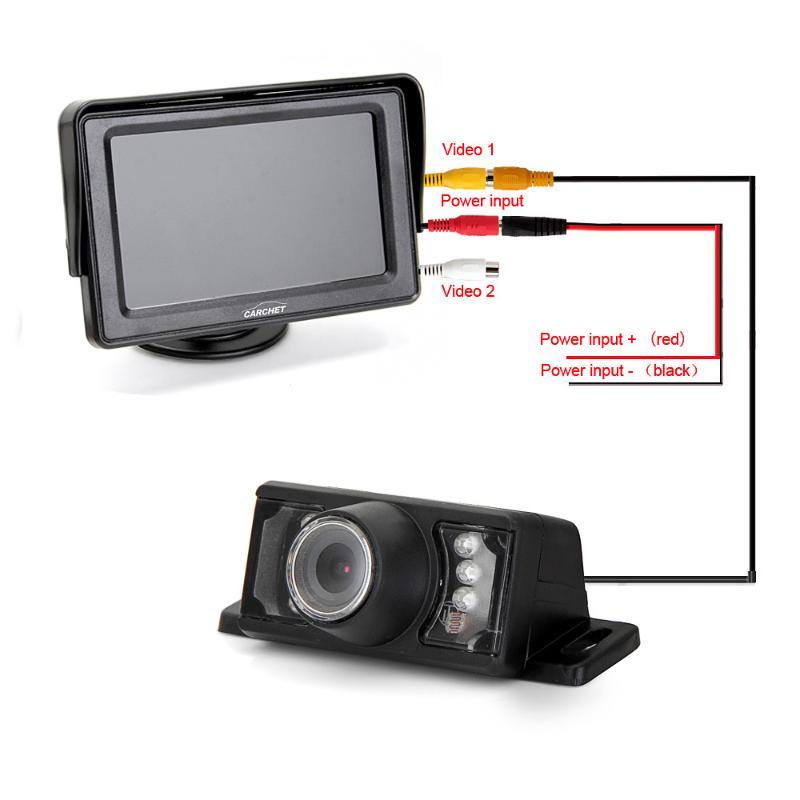 4.3 TFT LCD Display Car Rear View Monitor IR Reverse Backup 7 LED Night Version Camera