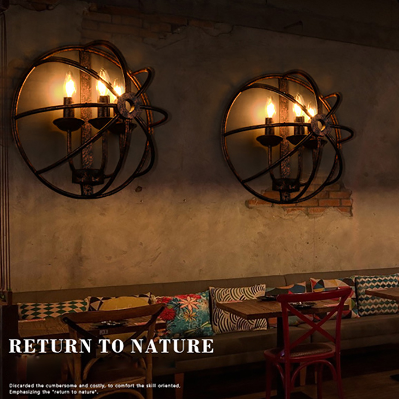 Loft retro Industrial round style black iron rust color wall lamps E14 LED wall lights sconce for living room bedroom bar cafe wheat breeding for rust resistance