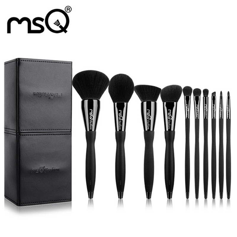 New Arrival 10 Pcs Sets Makeup Brush Brand Design Synthetic Hair Powder Cosmetic Beauty Tool Plastic Handle PU Leather Cylinder brand msq high quality synthetic hair foundation makeup brush with painted wood handle for fashion beauty new cosmetic tool