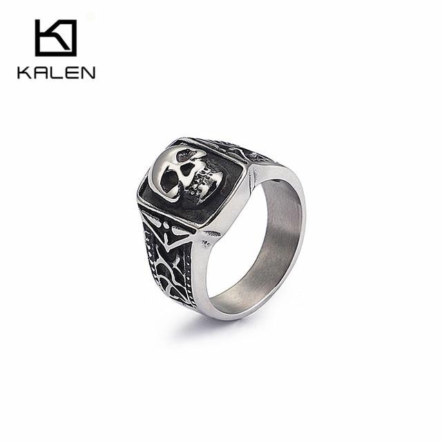 KALEN Punk Silver Skull Rings For Men Size #8-12 Stainless Steel Gothic Skull Biker Rings High Quality Halloween Jewelry