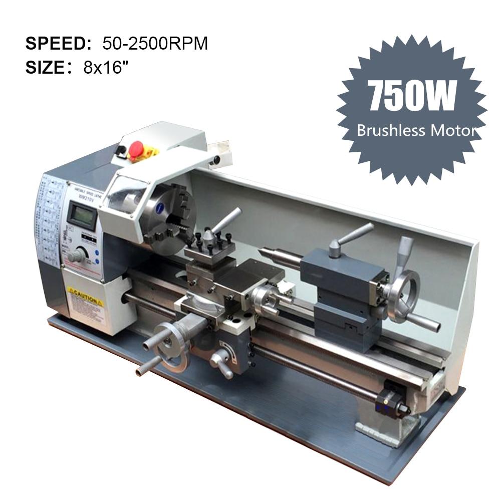 750W Variable Speed Mini Lathe Machine 220V Brushless Motor Mini Metal Lathe for Metalworking Stainless Steel Processing Full CE