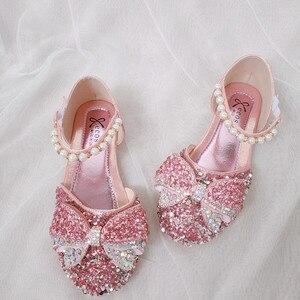 Детские сандалии с алмазным бантом для девочек, весенне-Осенняя обувь с блестками для выступлений, Детская летняя обувь с жемчугом