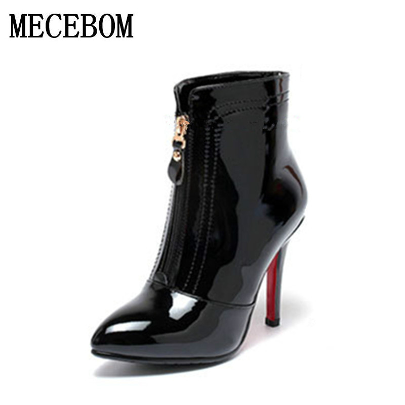 2017 Autumn and winter women Europe New fashion shoes women high heels Ankle boots Snow short boots zipper plus size 34-39 5361W стоимость