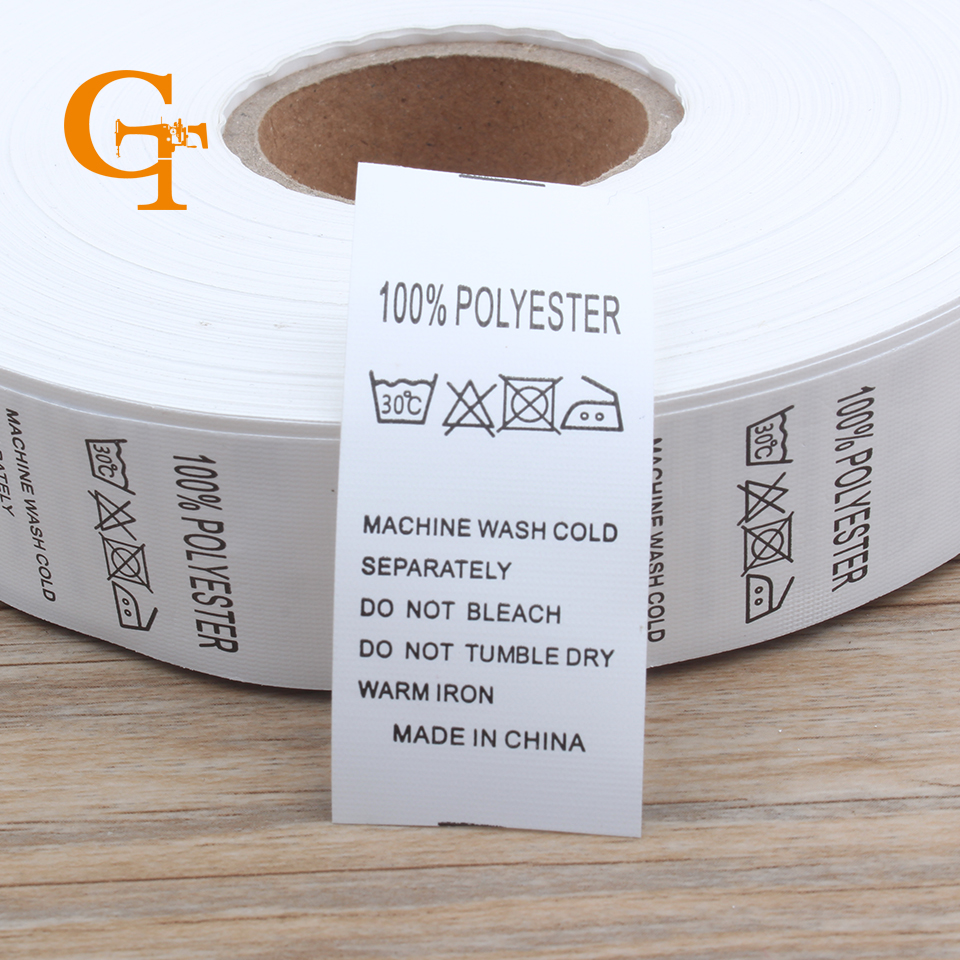 buy custom 100 polyester garment care label polyester wash instruction with. Black Bedroom Furniture Sets. Home Design Ideas