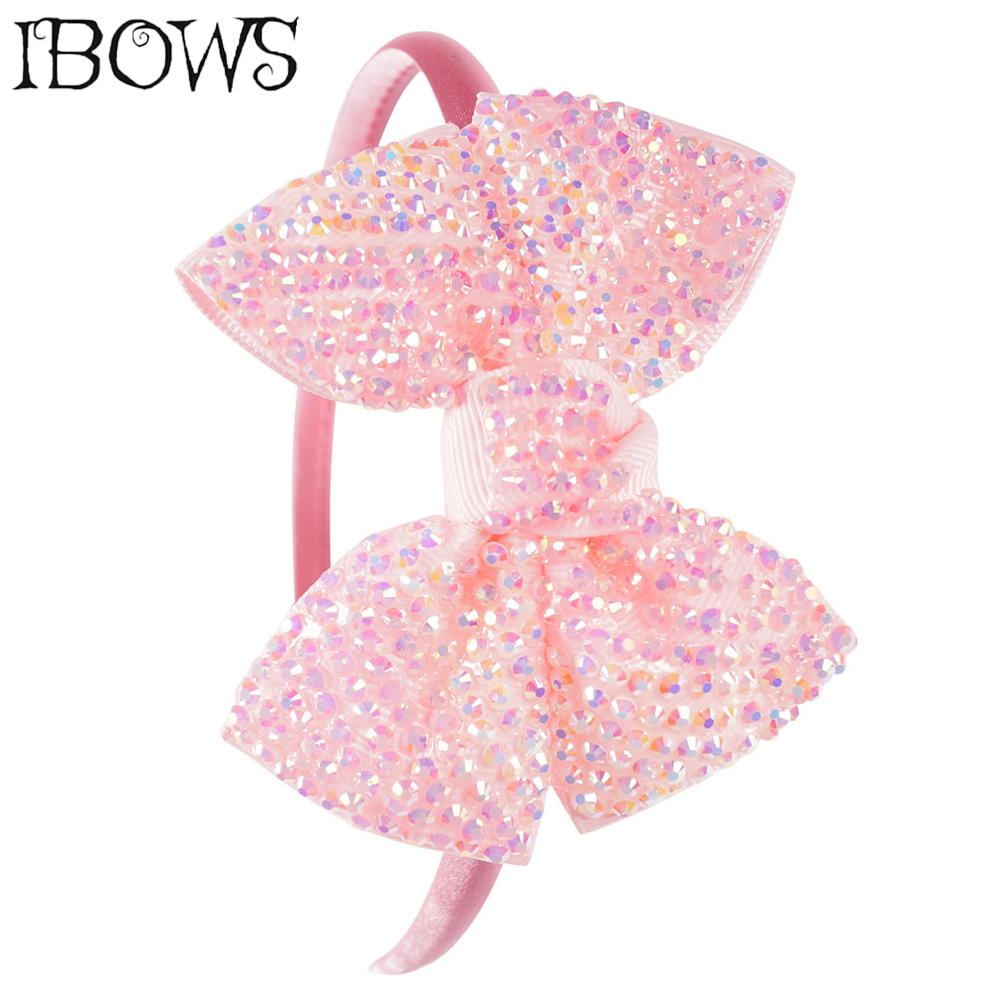 Princess Girls Rhinestone Bows Headbands Boutique Children Hairbands Tiara For Kids Candy Color Hair Hoop Hair Accessories