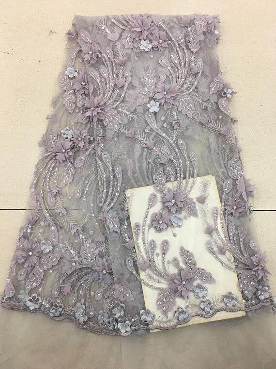 5 yards gris robe de mariée dentelle tissu, 3D mousseline de soie fleurs ongle perle haut de gamme européenne dentelle tissu livraison gratuite