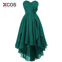 XCOS Green Burgundy Long Chiffon A Line Bridesmaid Dress Under $50 High Low Wedding Party Dress 2018 Robe Demoiselle D'honneur