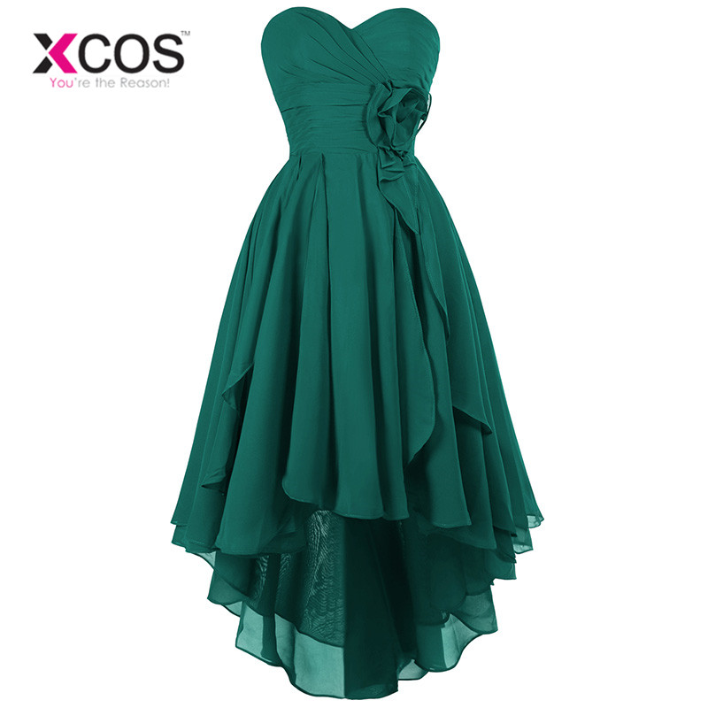 XCOS Green Burgundy Long Chiffon A Line   Bridesmaid     Dress   Under $50 High Low Wedding Party   Dress   2018 Robe Demoiselle D'honneur