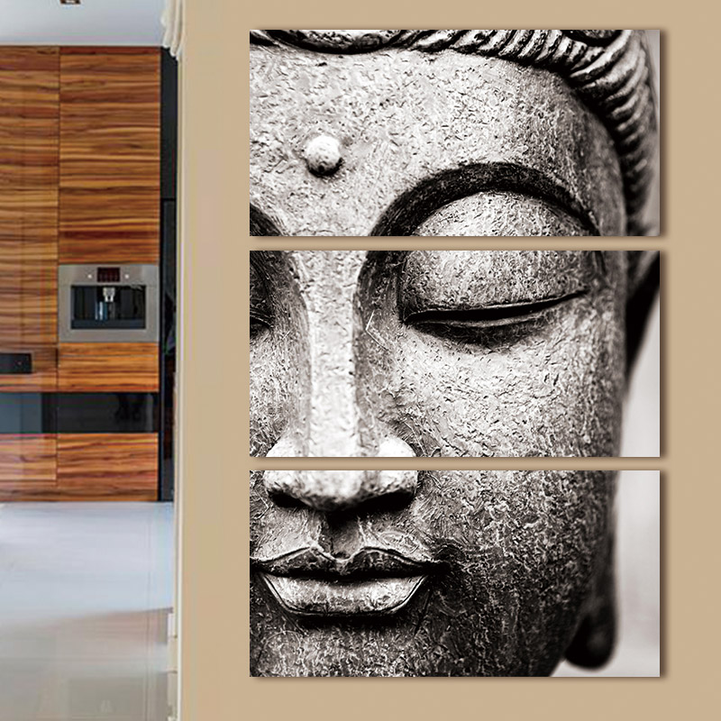 HTB100QFm7fb uJjSsrbq6z6bVXaA Canvas painting Wall Art pictures Gray 3 Panel Modern Large Oil Style poster Buddha Wall Print Home Decor for Living Room