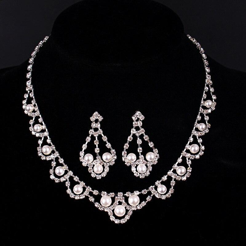Nueva Moda perlas rhinestone Aretes Collar Nupcial Conjunto Joyería de La Boda