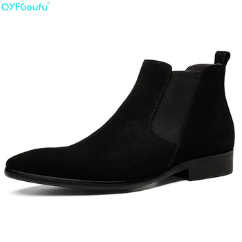 QYFCIOUFU Pointed Toe Genuine Leather Ankle Boots For Men Formal Designer Suede Chelsea Boots Mens Slip-on Dress Boots Booties