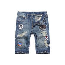 Summer Fashion Men Jeans Shorts Retro Blue Ripped Jeans Men Denim Shorts Streetwear Patches Hip Hop Short Jeans Big Size 28-40