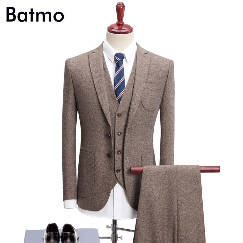 Batmo 2018 new arrival High quality thick khaki causal men's suis,wedding dress suit men,men's business suits,plus-size