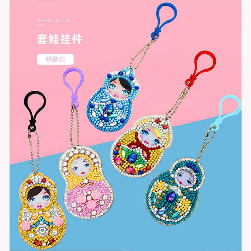 5pcs DIY Full Special Shaped Diamond Painting Doll Fruit Cartoon Keyring Keychains Cross Stitch Embroidery Women Bag Key Chain