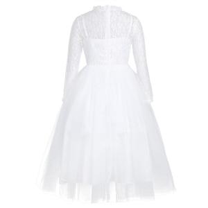 Image 2 - Dziewczęca sukienka w kwiaty z długimi rękawami śliczna biała koronka na wesela dzieci suknia wieczorowa dziewczyny księżniczka pierwsza komunia sukienek