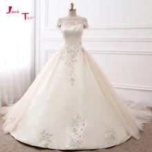 Jark Tozr 2019 New Arrive Boat Neck Short Sleeve Colorful Appliques Flowers Shiny Beading Crystal Satin Wedding Dress Casamento